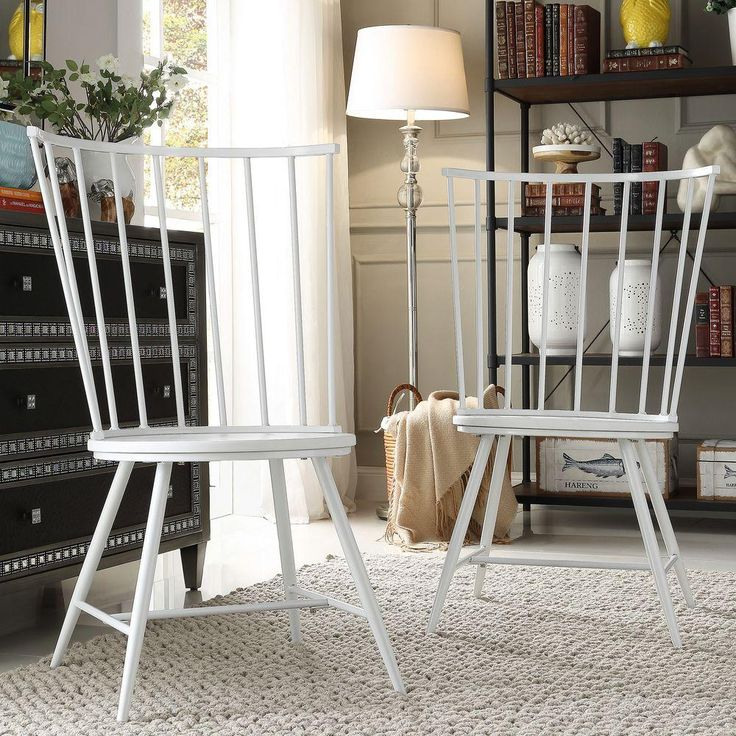 HomeSullivan Walker White Wood & Metal High Back Dining Chair (Set of 2)-40550C-WH3A2PC - The Home Depot