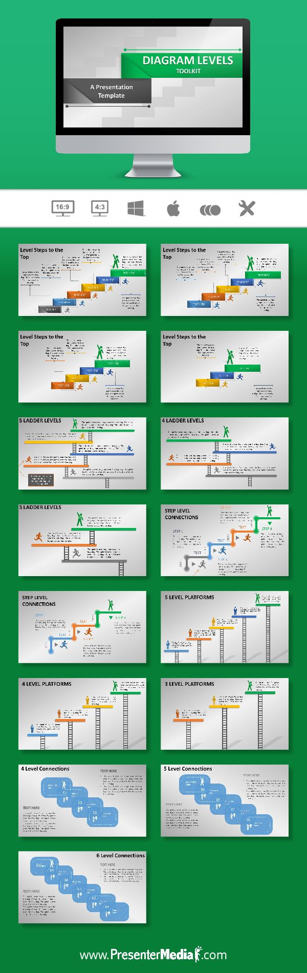 This animated widescreen template shows various slides containing diagrams of level stages which could be used to show rank priority achievement process order and growth. #infographics #presentations #powerpoint http://bit.ly/2fzb0FQ