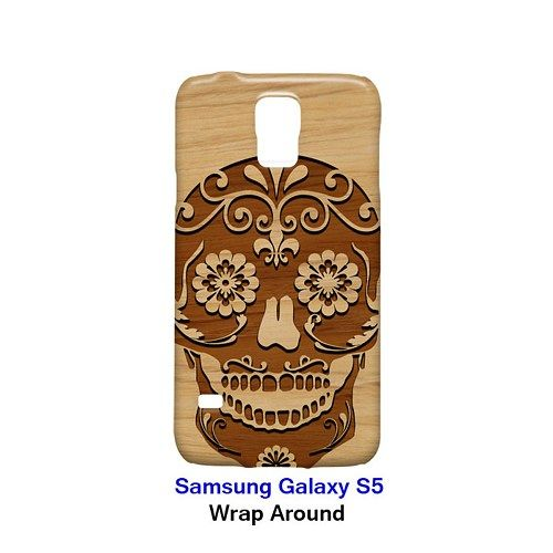 Carving Skull Surgar Style Wood 2 Case for Samsung Galaxy S5