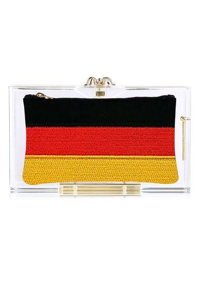 Clutch, Charlotte Olympia, WM, Fußball, 2014, Brasilien, Deutschland, Flagge, Tasche, Bag
