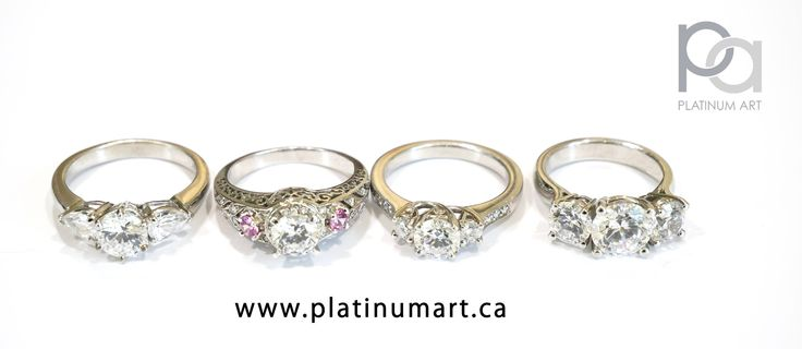 This lineup of all different kinds of three stone rings is a demonstration of the variety of stones and ring combinations that can be brought to life for you. Ask about yours today.  1+844-787-7348 www.platinumart.ca