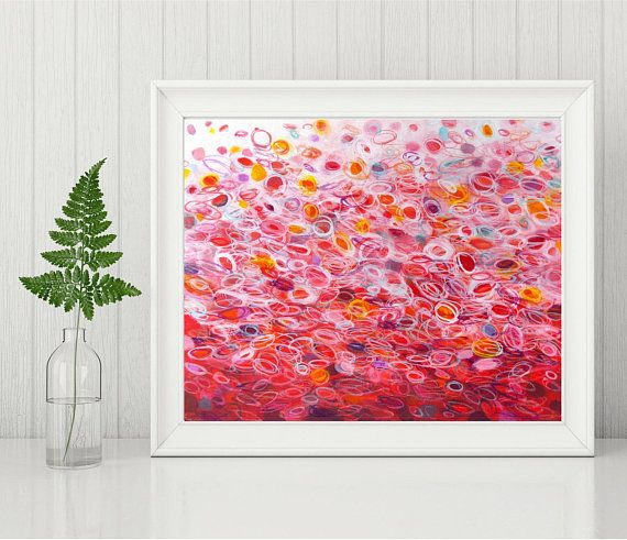 This instant download print is of my original abstract painting titled Fiesta. Featuring joyful circles in red, pink and white with touches of bright yellow, turquoise and purple. Display the piece as it speaks to you, with the white on top or the bottom. This listing includes two high resolution jpg files measuring 8 x 10 and 11 x 14. These are standard sizes so you can pop them into ready made frames for an affordable addition to your wall art collection. Print at home or use a service…