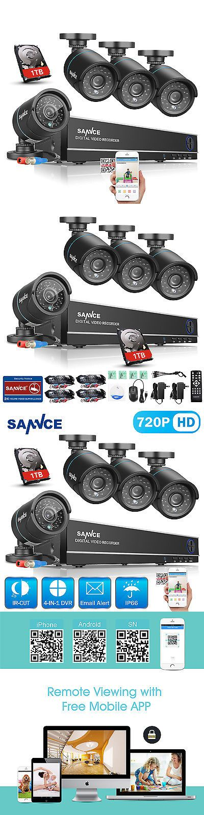 Surveillance Security Systems: Sannce 8Ch 1080N Dvr 1500Tvl Security Camera System Home Video Hdmi Outdoor 1Tb BUY IT NOW ONLY: $159.99
