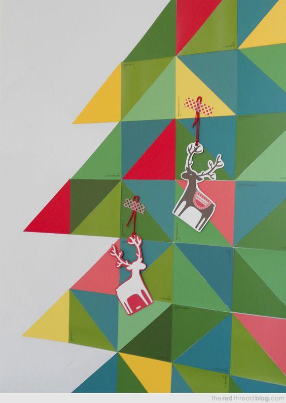 geometric paint chip chistmas tree