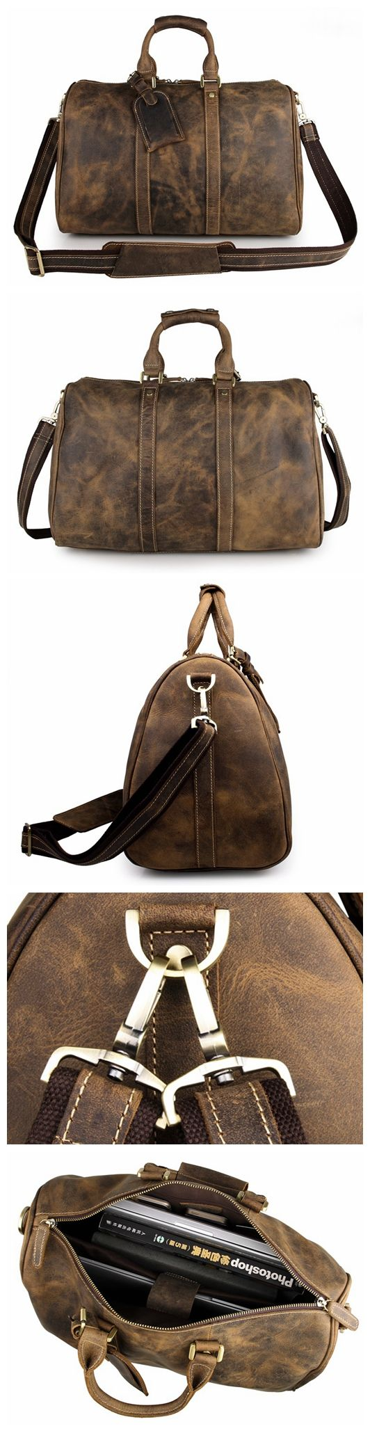 Handcrafted Vintage Style Top Grain Calfskin Leather Travel Bag Duffle Bag Holdall Luggage