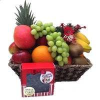 Christmas Fruit Basket with Pudding Lady Christmas Cake
