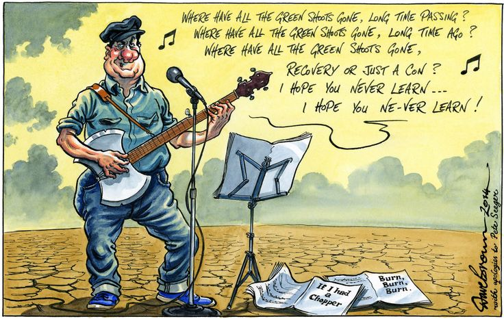 29 January 2014 - reference to Pete Seeger's passing, his songs often commenting on tyrants and wars.