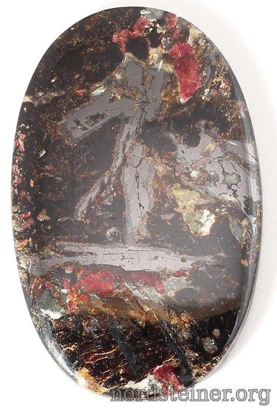 Ilmenite & Eudialite cabochon 53*34 mm #cabochon #gems #nordsteiner #Ilmenite @ nordsteiner.org