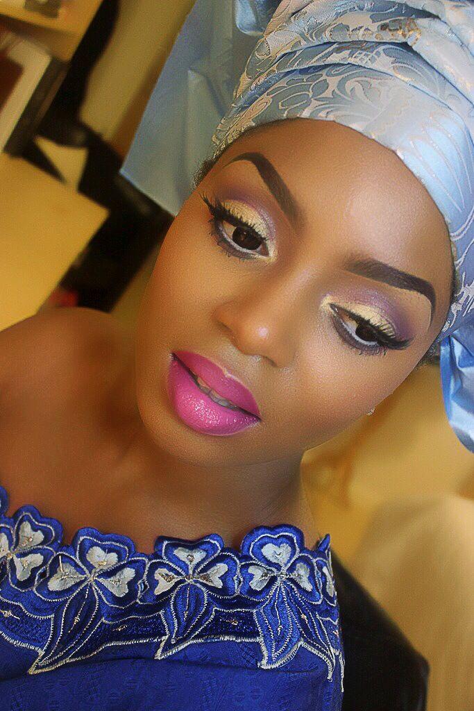Nigerian wedding makeup and damask gele by Laranuga