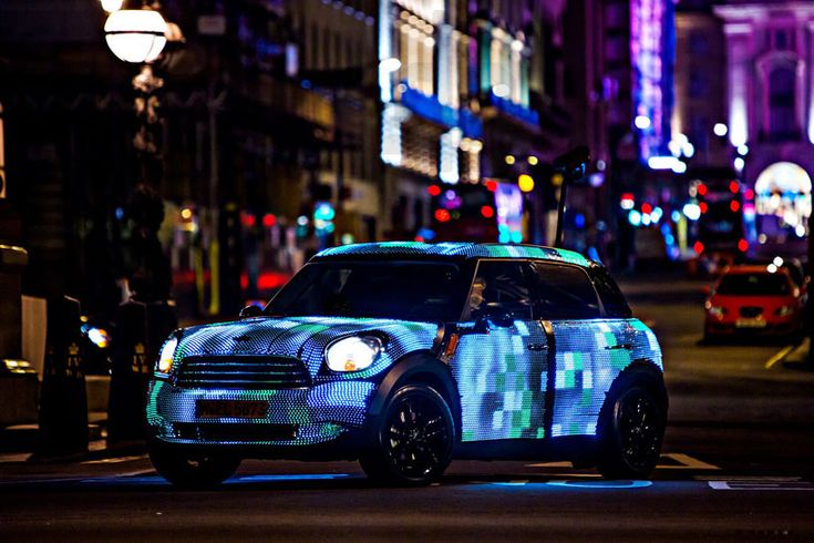 turn your face into mobile billboard with the custom built MINI countryman covered in LEDs, which allows you to stream a personal video, projected directly onto the moving car.