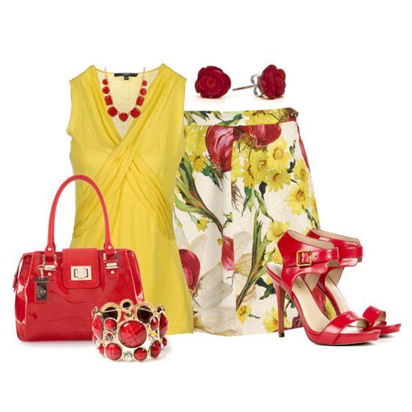 С чем носить красные босоножки: желтая блузка, юбка с цветочным принтом, красная сумка и яркая бижутерия