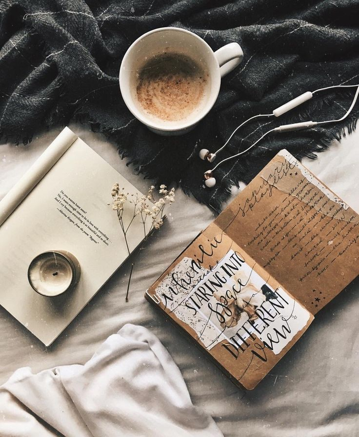 Lifestyle Coffee Journal Earbuds Bedroom Home Office
