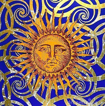celestial sun face art