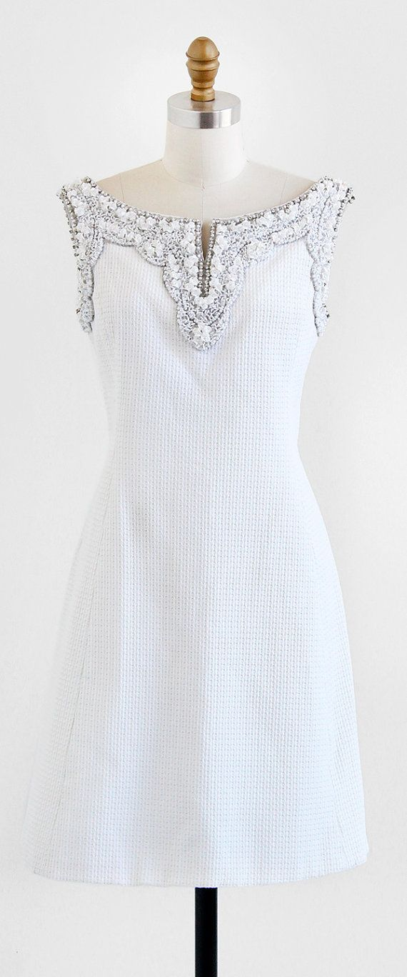 vintage 1960s White Beaded Rhinestone Collar Cotton Pique Bridal Dress