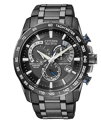 Citizen Watch, Men's Chronograph Eco-Drive Gray Ion Plated Stainless Steel Bracelet 43mm AT4007-54E - Men's Watches - Jewelry & Watches - Ma...