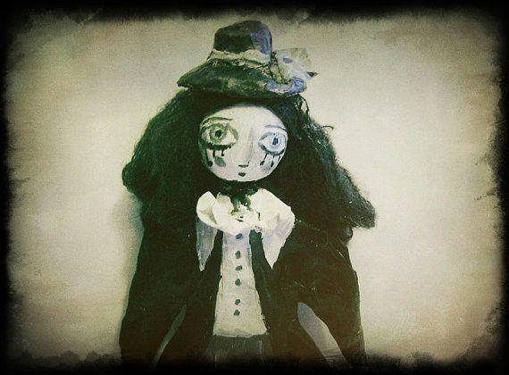 OOAK doll goth boy paper mach Doll art dark par MlleCelesteArtdoll