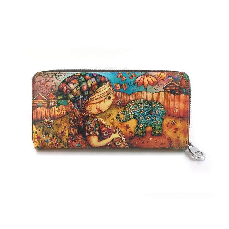 Genuine leather Brand Design Women Wallets Ladies Clutch Hand Bag Famous Brands Woman Cartoon printing Purse Long Female Wallet #femalewallet #wallet #purse
