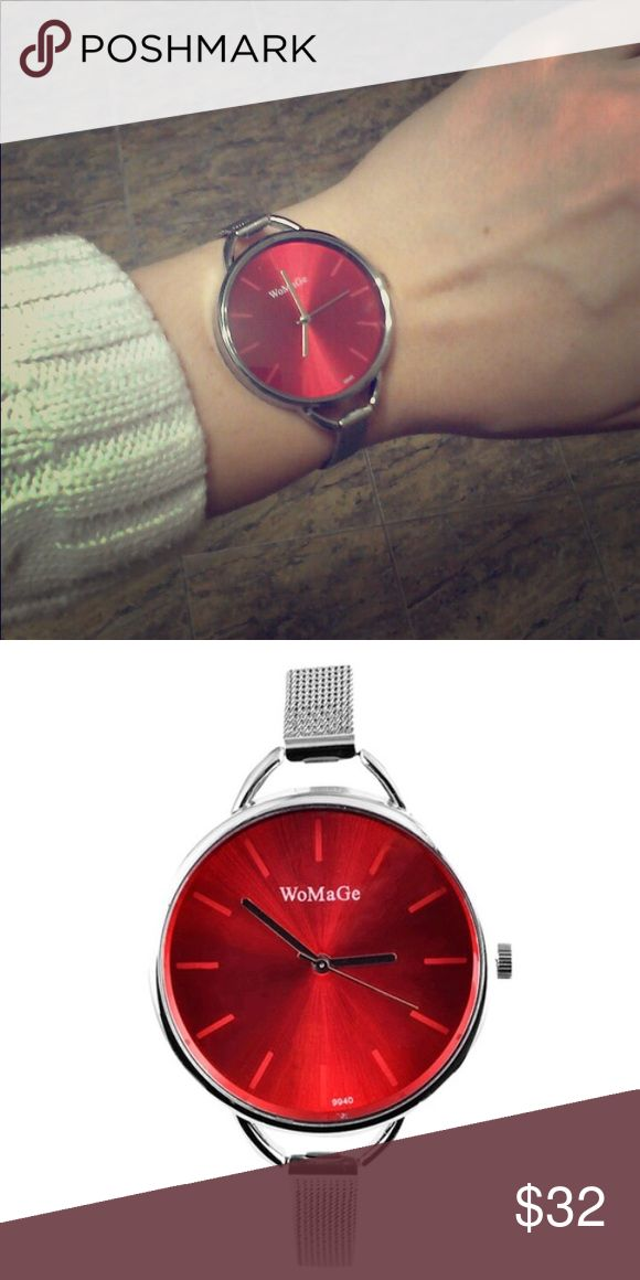 Red Watch Chic stainless steel silver and red watch. Simple and beautiful design. A everyday watch.   Material: Stainless steel ( case and band ) Accessories Watches