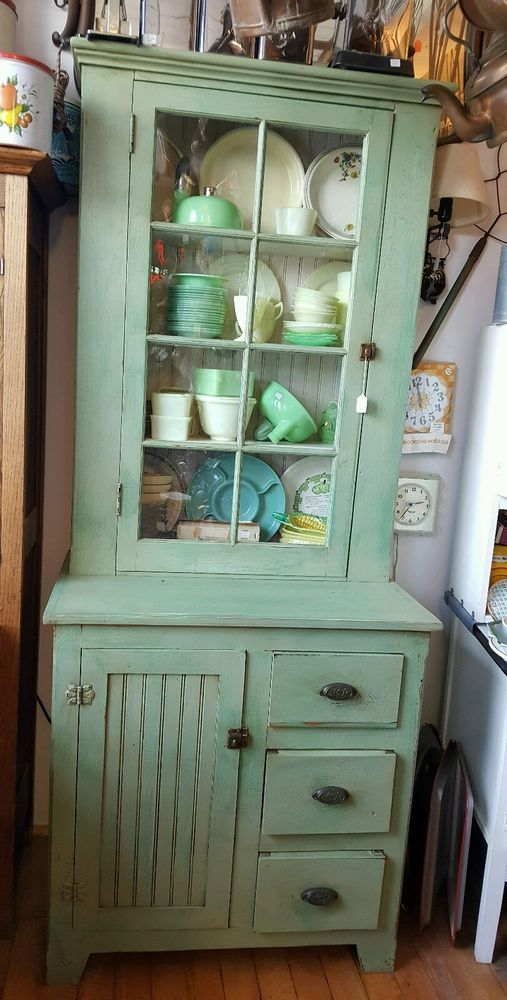Primitive Antique Jelly Cabinet kitchen cupboard with original hardware & glass #antiquecountry #handmade