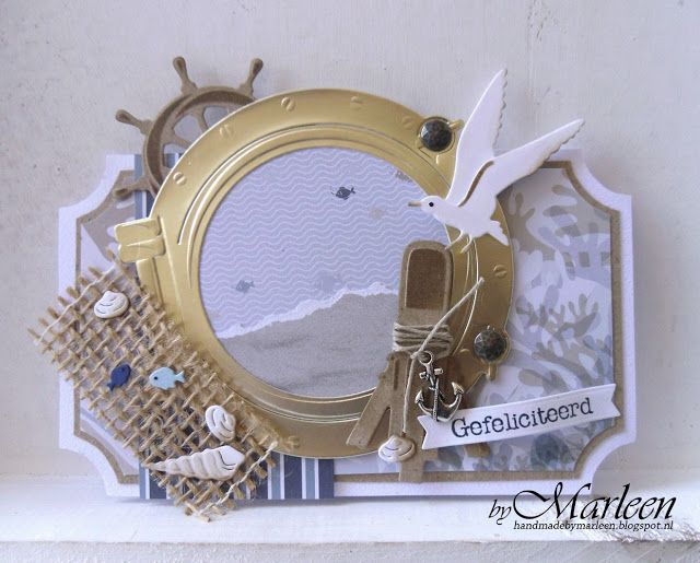 Handmade card by DT member Marleen with Creatables Porthole (LR0417), Craftables Tiny's Ocean Set (CR1279), Punch Die - Sea Shells (CR1363), Punch Die - Fish (CR1364) and PL Algemeen (PL1516) from Marianne Design