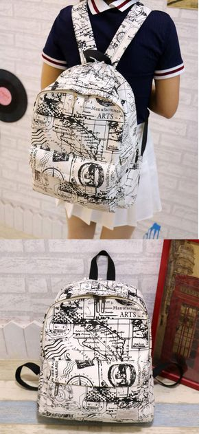 Fashion Canvas Graffiti Map Casual Backpack &Schoolbag for big sale! #school #backpack #college #bag #women #canvas #casual #Graffiti