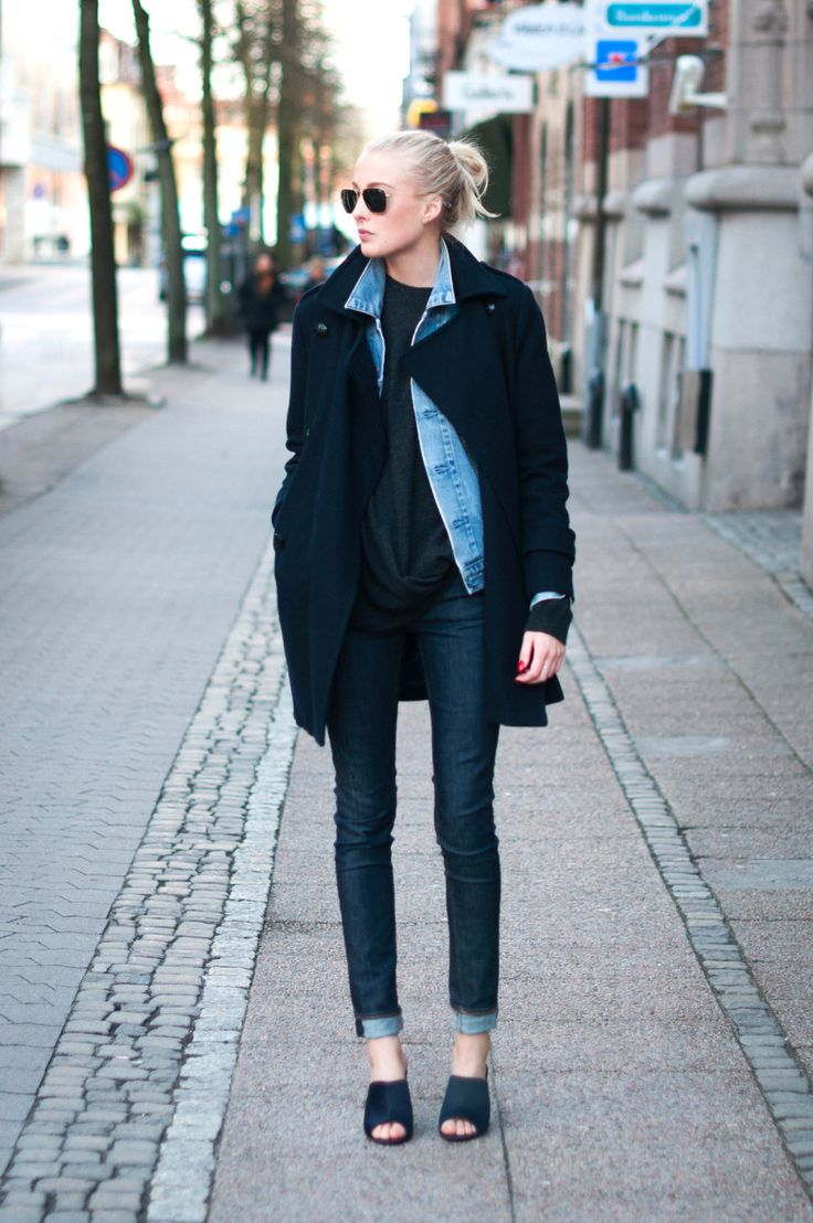 Jacket over denim.
