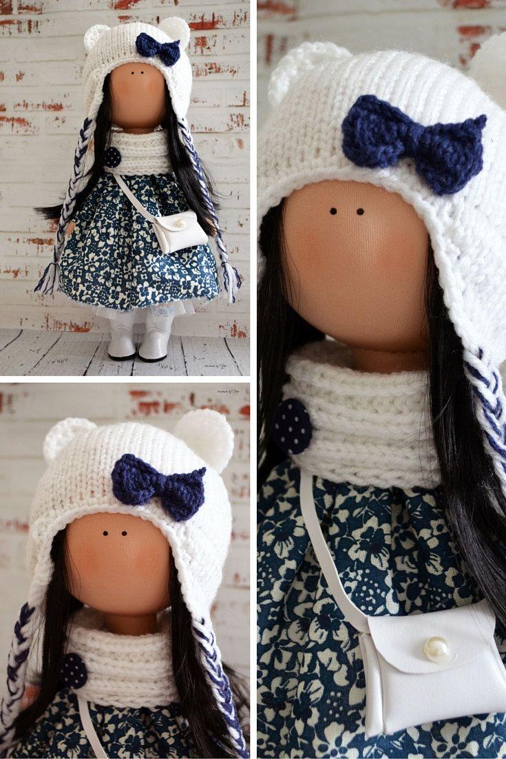 Snow doll Interior doll Home doll Art doll handmade blue white colors Tilda doll…