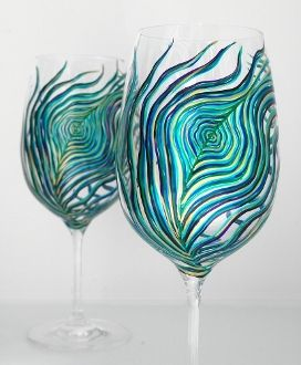 I love these glasses!!!: Peacock Feathers, Ideas, Paintings Wine Glasses, Wine Glasses Sets, Peacock Glasses, Peacock Wine, So Pretty, Products, Drinks