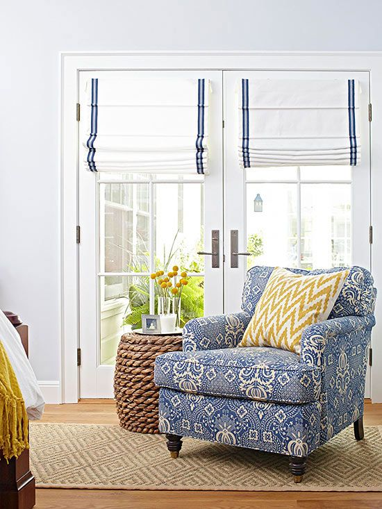 Blue and yellow fabrics with rope side table