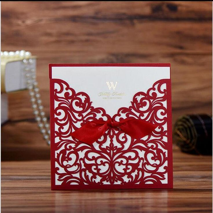 jain wedding invitation wording in hindu%0A Lace Ribbon Bow Knot Wedding Invitation Card Vintage Laser Cut Hollow  Flowers Blank Inside With Envelope