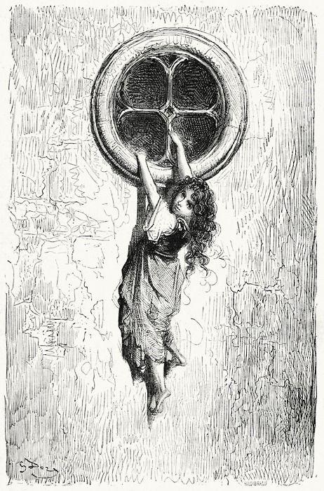 …And let herself drop to the floor… Gustave Doré, Le capitaine Fracasse | Théophile Gautier, Paris 1860