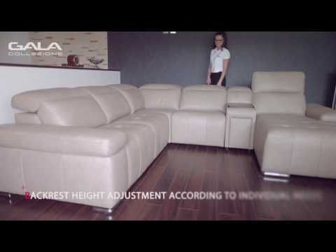 Gala Collezione Inspires - explore the sofa (part 2). Movable headrests, relaxation function control via electrical sensors, liquor cabinet with a sliding drower - this is the Domo, your comfortable corner sofa.
