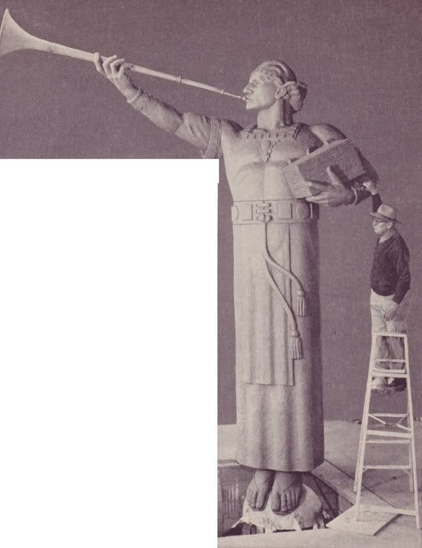 """The Angel Moroni's SecretThe Angel Moroni's Secret  By: Ardis E. Parshall - April 30, 2009  He has a secret, you know, a detail not mentioned in any of the many articles descriptive of the Los Angeles Temple. Malin handed admire Elder Matthew Cowley a modeling tool and invited him to """"sign"""" the clay figure. Elder Cowley did so, carving """"MC"""" into the lower edge of the angel's robe, in back."""