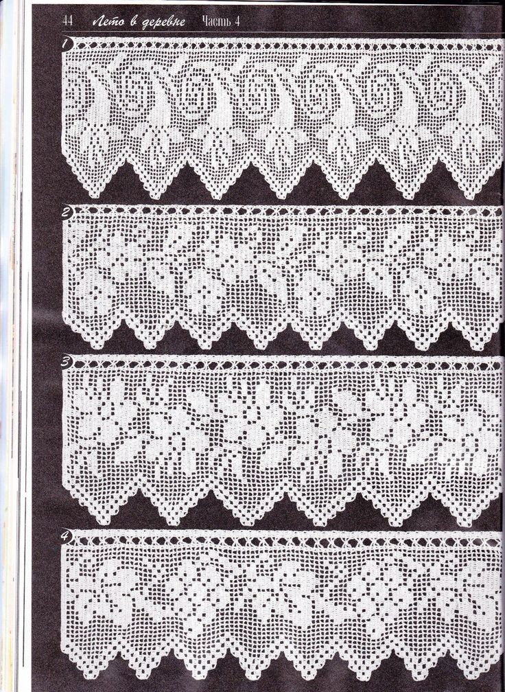 Duplet 138 p44. Four beautiful filet crochet lace edgings with floral motifs. Charts on next page.