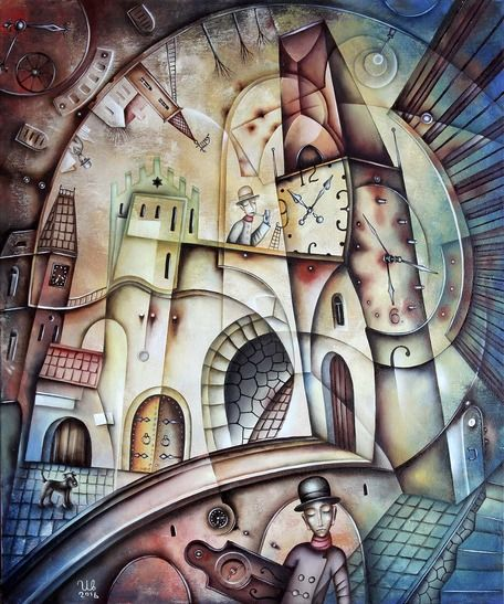 In The Old Town by Eugene Ivanov #eugeneivanov #cubism #avantgarde #threedimensional #cubist #artwork #cubistartwork #abstract #geometric #association #@eugene_1_ivanov