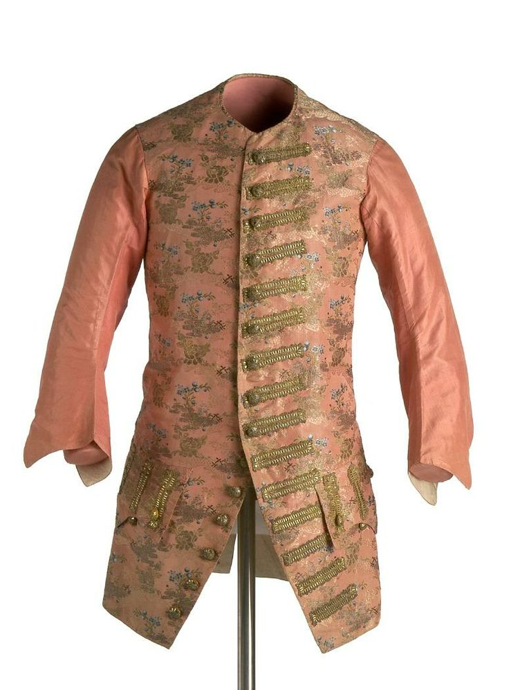 Long-sleeved waistcoat, c. 1760, Spain. Salmon coloured silk brocaded with Chinoiserie motifs in coloured silks and metallic threads.