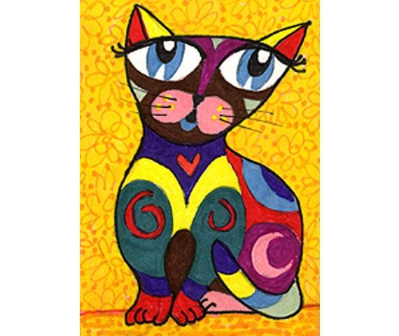 Cat Art Mexican Folk Art Whimsical Art by AGirlAnOwlAndACat, $10.00