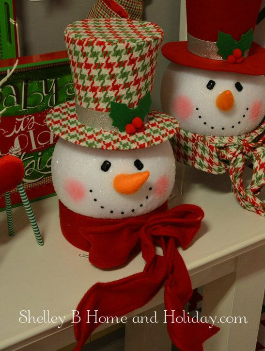 Snowman Head Christmas Tree Topper   Shelley B Home and Holiday