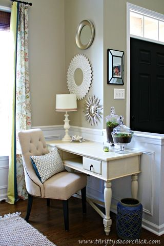 Thrifty Decor Chick: Love the paint on the walls--Analytical Gray by Sherwin Williams