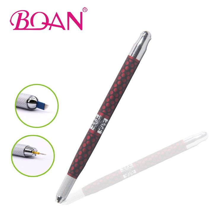 1Pc BQAN Red Metal Handle Eyebrow Pen 2 Sides Manual Tatoo Pen Microblading Eyebrow Tattooing Tool For 3D Eyebrow Embroidery