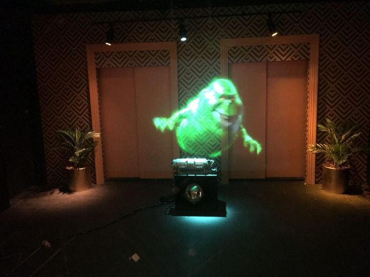"Amazing holographic animation of the ""Ghostbusters"" character Slimer is the last thing you see before the ticket area of ""The Ghostbusters Hyper Reality"" experience. Photo: Charlie Fink"