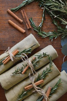 cinnamon sticks + rosemary napkin rings
