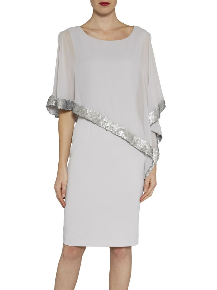 Crepe and chiffon dress with sequin trim-Silver Mist-8