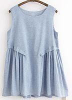 mori kadın tank elbise bayan yaz giyim japanese parlama elbise bayan pamuklu gri mavi çizgili kısa elbiseler