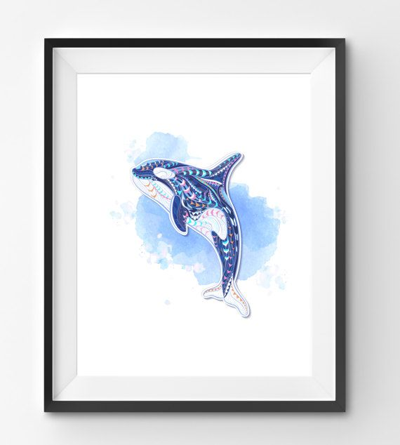 Colorful Orca Art Monkey Wall Art Mosaic Orca Print Animal