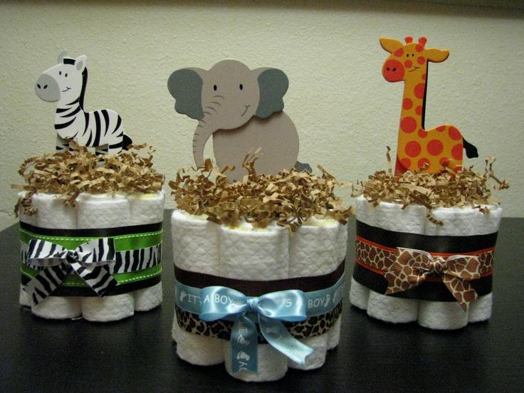 Jungle/Safari Mini Diaper cakes: Shower Ideas, Crafts Diy Projects, Diapers, Mini Diaper Cakes, Bridal Shower Baby, Craft Ideas, Shower Baby Shower, Jungle Safari Mini, Baby Showers