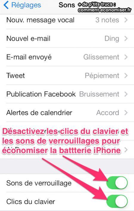Vous cherchez à économiser de la batterie sur votre iPhone ? Voici une astuce toute simple qui devrait vous intéresser. Découvrez l'astuce ici : http://www.comment-economiser.fr/batterie-iphone-desactiver-le-son-des-touches.html