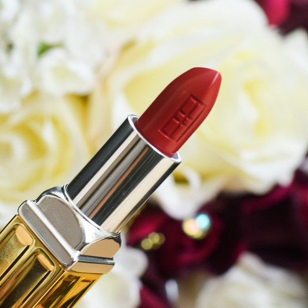Elizabeth Arden Bold Red Matte Beautiful Color Moisturizing Lipstick // Epiphannie A // Red Lipstick // Lipstick and flowers // lipstick and typewriter //