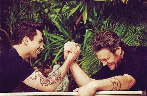Worlds best bromance... Adam Levine and Blake Shelton.