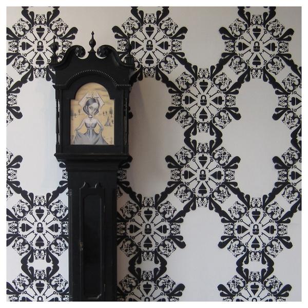I like this squirrel/key stenciled wallpaper.: Lovely Lodging, Squirrel Key Stenciled, Stenciled Wallpaper